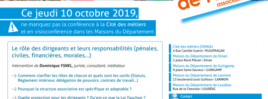 «Les jeudis de l'info» le 10 octobre 2019 : Rôle et responsabilités des dirigeants